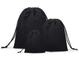 Dárkový sametový pytlík - černý, různé velikosti – Dárkové tašky a krabičky