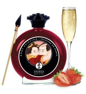 Slíbatelný bodypainting Shunga Sparkling Strawberry Wine – Bodypainting (malování na tělo)