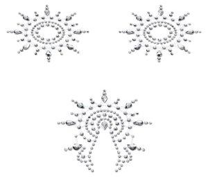 Samolepicí ozdoby na bradavky a vaginu Gloria, stříbrné – Samolepky na prsa a bradavky