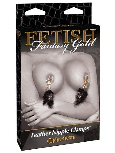 Svorky na bradavky s peříčky Fetish Fantasy Gold