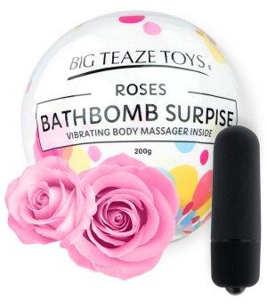 Bomba do koupele s vibrační patronou Surprise, růže – Bomby do koupele