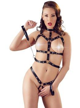 Řemínkový set prádla s pouty Bad Kitty – BDSM postroje a řemínkové prádlo