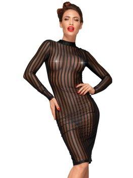 NOIR Průsvitné šaty s proužky a dlouhými rukávy – Sexy šaty a minišaty