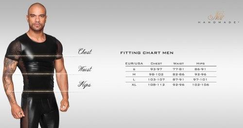 NOIR Lesklé pánské tričko s průsvitnými rukávy a boky