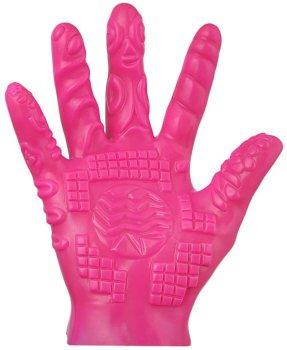 Masturbační rukavice se stimulačními výstupky - růžová – Masážní pomůcky a doplňky