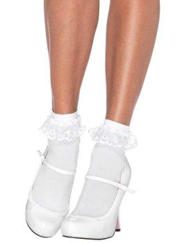 Bílé kotníčkové ponožky s krajkovými volánky – Ponožky a podkolenky