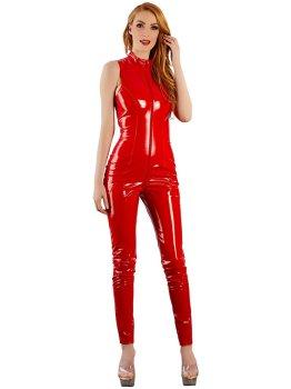 Červený lakovaný overal s dvoucestným zipem – Dámské catsuity a overaly