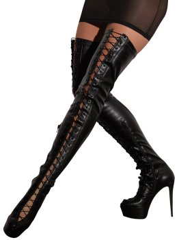 Vysoké kozačky na podpatku se šněrováním Cottelli Collection – Sexy erotická obuv, boty do postele