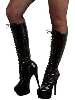 Lakované kozačky na vysokém podpatku se šněrováním Cottelli Collection – Sexy erotická obuv, boty do postele