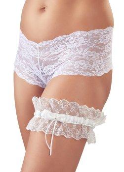 Bílý krajkový podvazek s mašličkou – Sexy dámské podvazky a podvazkové pásy