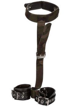 Maskáčový postroj s pouty a obojkem COLT Camo – Bondage sady a postroje s pouty