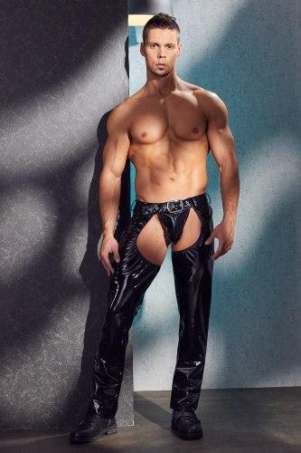 Lakované pánské kalhoty s velkým otvorem v rozkroku + tanga